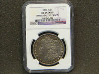 1894 MORGAN SILVER DOLLAR NGC AU DETAILS - CLEANED LOW MINTAGE 110,000 KEY