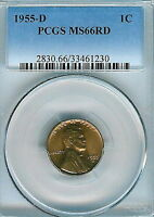 1955-D LINCOLN CENT : PCGS MINT STATE 66RD
