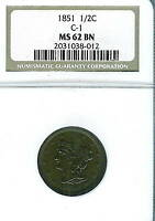 1851 BRAIDED HAIR HALF CENT : NGC MINT STATE 62BN  C-1 VARIETY