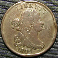1804 US DRAPED BUST HALF CENT COPPER COIN   CROSSLET 4 SPIKE