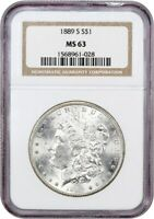 1889-S $1 NGC MINT STATE 63 - MORGAN SILVER DOLLAR