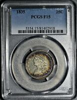 1835 25C SILVER CAPPED BUST QUARTER CERTIFIED BY PCGS F15  JA36