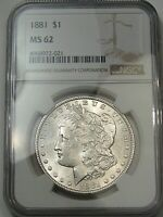 UNC 1881 SILVER US MORGAN DOLLAR. NGC MINT STATE 62.  6