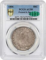 1806 50C PCGS/CAC AU50 POINTED 6, STEMS GREAT TYPE COIN - BUST HALF DOLLAR