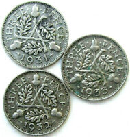 GREAT BRITAIN COINS THREEPENCE 1931 & 1932 & 1933 GEORGE V SILVER 0.500