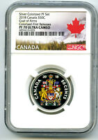 2018 CANADA 50 CENT SILVER COLORED PROOF NGC PF70 UC HALF DO