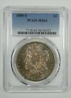 1880-S MORGAN DOLLAR CERTIFIED PCGS MINT STATE 64 SILVER DOLLAR  TONED