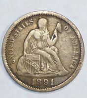 1891-O SEATED LIBERTY DIME FINE SILVER 10C  LAST YEAR OF ISSUE