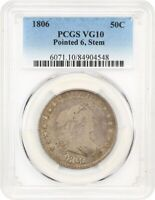 1806 50C PCGS VG-10 POINTED 6, STEMS GREAT TYPE COIN - BUST HALF DOLLAR