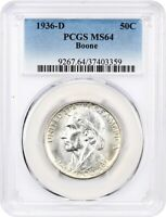 1936-D BOONE 50C PCGS MINT STATE 64 - LOW MINTAGE ISSUE - SILVER CLASSIC COMMEMORATIVE