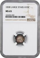 1838 NO DRAPERY H10C NGC MINT STATE 65 LARGE STARS SEATED HALF DIME