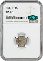 1833 H10C NGC/CAC MINT STATE 62 - EARLY HALF DIMES