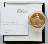 2019 ROYAL MINT UNA AND THE LION 200 GOLD PROOF 2OZ COIN BOX COA