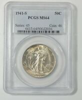 1941-S WALKING LIBERTY HALF DOLLAR CERTIFIED PCGS MINT STATE 64 SILVER 50C