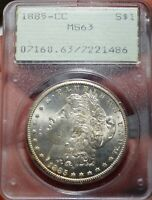 1885-CC $1 MORGAN, PCGS MINT STATE 63, LUSTROUS CARSON CITY SILVER DOLLAR OLD RATTLER