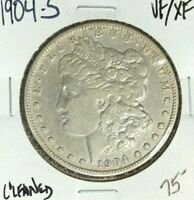 1904-S MORGAN SILVER DOLLAR  VF/EXTRA FINE  CLEANED  LOOKING COIN