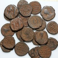 STUNNING LOT OF 23 LARGE SIZES BYZANTINE BRONZE COINS CA 500