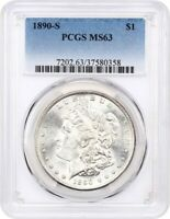 1890-S $1 PCGS MINT STATE 63 - MORGAN SILVER DOLLAR