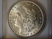 1887 MORGAN SILVER DOLLAR  / UNCIRCULATED / TOP 100 / VAM 12 /