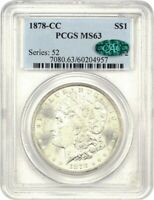1878-CC $1 PCGS/CAC MINT STATE 63 - POPULAR FIRST-YEAR CARSON CITY MORGAN