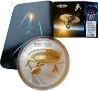 2016 24K GILDED SILVER STAR TREK ENTERPRISE EDITION 1OZ .999 TUVALU COIN