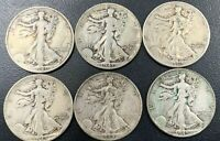LOT OF 6 1940 41 42 43 44 45 90 SILVER WALKING LIBERTY 50 CENT US COIN