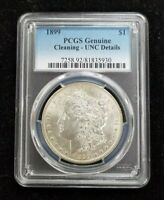 1899 MORGAN SILVER DOLLAR PCGS GENUINE CLEANING-UNC DETAILS $1 T1