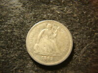 1865-S  VG F  SEATED LIBERTY HALF  DIME  RIMS  DECENT COIN FTW