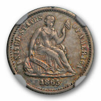 1865 SEATED LIBERTY HALF DIME NGC EXTRA FINE  45 EXTRA FINE TO AU KEY DATE TOUGH