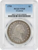 1795 FLOWING HAIR $1 PCGS VF20 2 LEAVES POPULAR EARLY DOLLAR