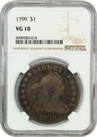 1799 $1 NGC VG-10 - GREAT BUST DOLLAR TYPE COIN - BUST SILVER DOLLAR