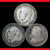 GREAT BRITAIN HALF CROWNS  3 SILVER COIN COLLECTION  SILVER