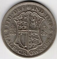 1934 GREAT BRITAIN HALF 1/2 CROWN GEORGE V SILVER WORLD COIN
