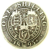 GREAT BRITAIN   UK COINS ONE SHILLING 1895 VICTORIA SILVER 0.925