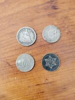 LOT OF OLD  SILVER US 1/2 DIME & 3C