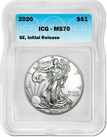 2020 SILVER EAGLE MS70 ICG S$1 INITIAL RELEASE BLUE TAG LIVE COINS US MINTED