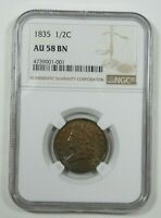 1835 CLASSIC HEAD HALF CENT CERTIFIED NGC AU 58 BROWN 1/2C