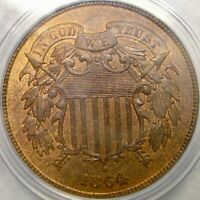 1864 TWO CENT PIECE BEAUTIFUL  PCGS MINT STATE 64 RED BROWN  OGH SLAB