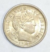 1916 BARBER DIME ALMOST UNCIRCULATED/UNC SILVER 10C  LAST YEAR OF ISSUE