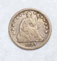 1857 LIBERTY SEATED HALF DIME GOOD SILVER FIVE CENTS