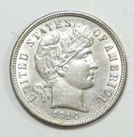 1914-D BARBER DIME ALMOST UNCIRCULATED SILVER 10C