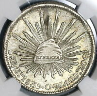 1839-ZS NGC MINT STATE 62 MEXICO 8 REALES  SILVER MINT STATE COIN POP 5/0 20011701C