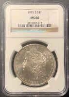 1881 S MORGAN SILVER DOLLAR MINT STATE 66 NGC