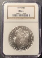 1880 S MORGAN SILVER DOLLAR MINT STATE 66 NGC.