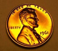 PROOF 1961 LINCOLN PENNY - RED AND PERFECT   FREE SHIP