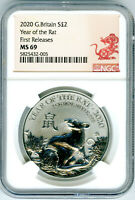 2020 GREAT BRITAIN 1 OZ SILVER 2PD NGC MS69 YEAR OF THE RAT