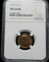 1913 S LINCOLN CENT NGC MS64RB