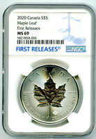 2020 $5 CANADA 1 OZ SILVER MAPLE LEAF NGC MS69  FIRST RELEAS