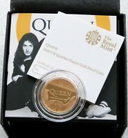 2020 GREAT BRITAIN MUSIC LEGENDS QUEEN 25 POUND GOLD PROOF 1/4OZ COIN BOX COA