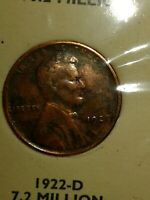 1922 MISSING MINT MARK NO D LINCOLN CENT PENNY